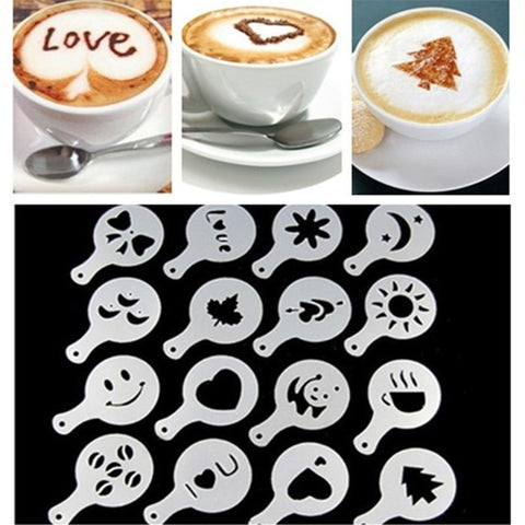 16Pcs Coffee Mold Milk Cake Cupcake Stencil Template Duster Spray Tools Coffee Barista Cappuccino