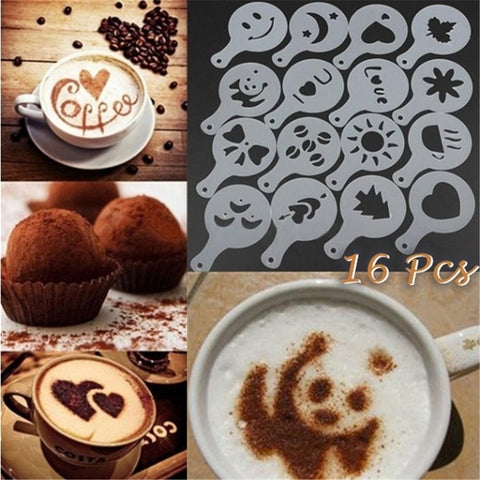 16Pcs Plastic Cappuccino Coffee Foam Spray Template Stencils DIY Decorating Coffee Printing Mold