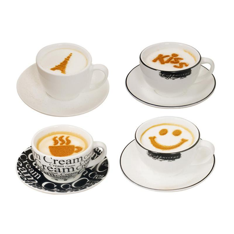 16pcs Cappuccino Coffee Art Stencils Template Strew Flowers Pad Duster Spray for Coffee Decoration