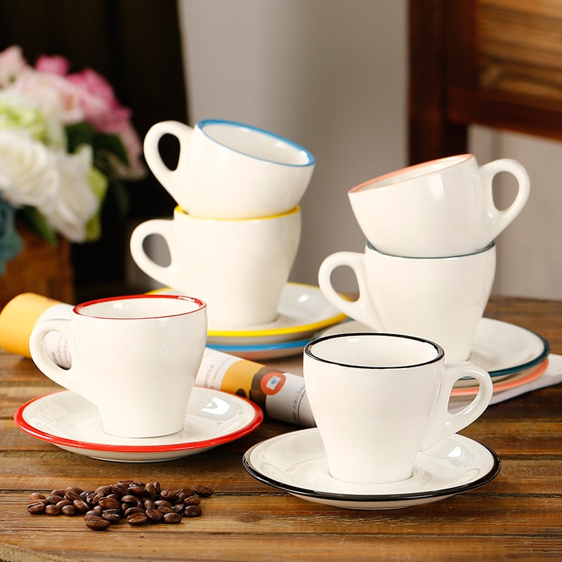 170ml/280ml colorful thick body ceramic coffee tulip cappuccino cup and saucer with color edge for