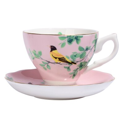 180ML. bone china craft cups for tea, antique-porcelain-cups, vintage bird painting, ceramic