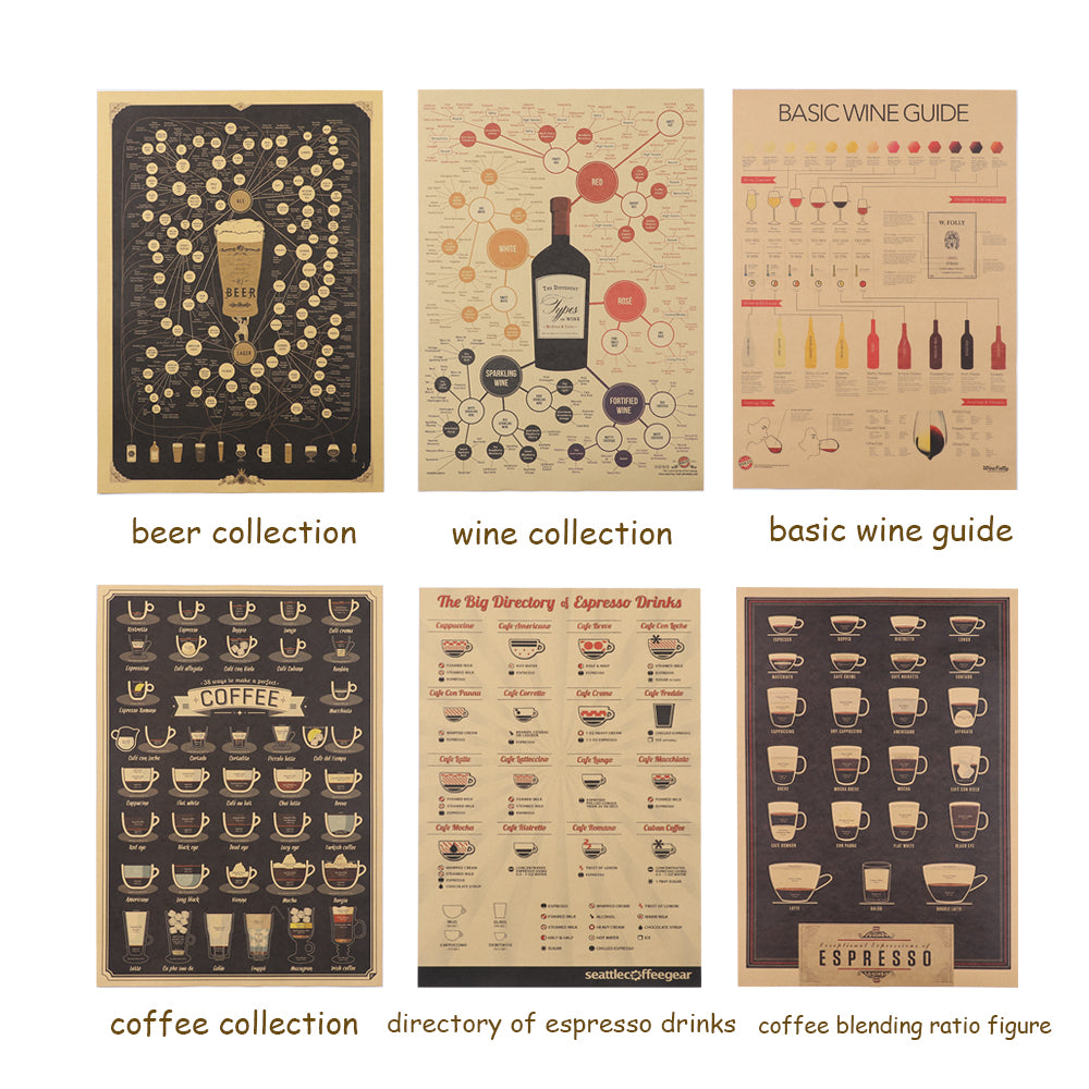 1PC Beer Coffee Kitchen Adornment Kraft Paper Vintage Picture Wall Sticker Poster Bar Decoration Coffee House Decor Home Decor