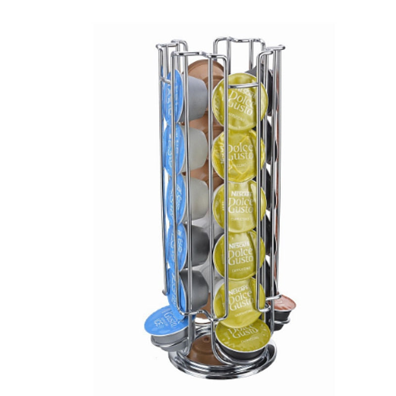 1PC Coffee Pod Holder Rotating Rack Coffee Capsule Stand Capsules Storage for 24 PCS Dolce Gusto