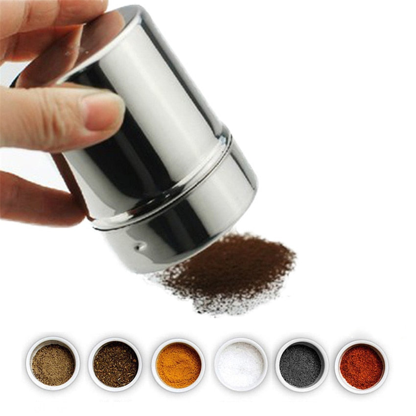 1Pc Stainless Steel Sprinkle Cocoa Cinnamon Sugar Gauze Mesh Jar Seasoning Bottle Fancy Coffee Powder Duster Pepper Shaker Can