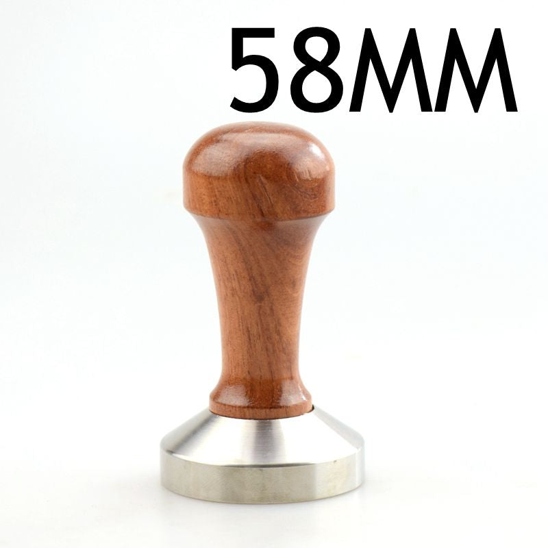 1pc Rosewood Coffee Tamper 58mm Wooden Handle With 304 Stainless Steel Base Hammer Direct Selling