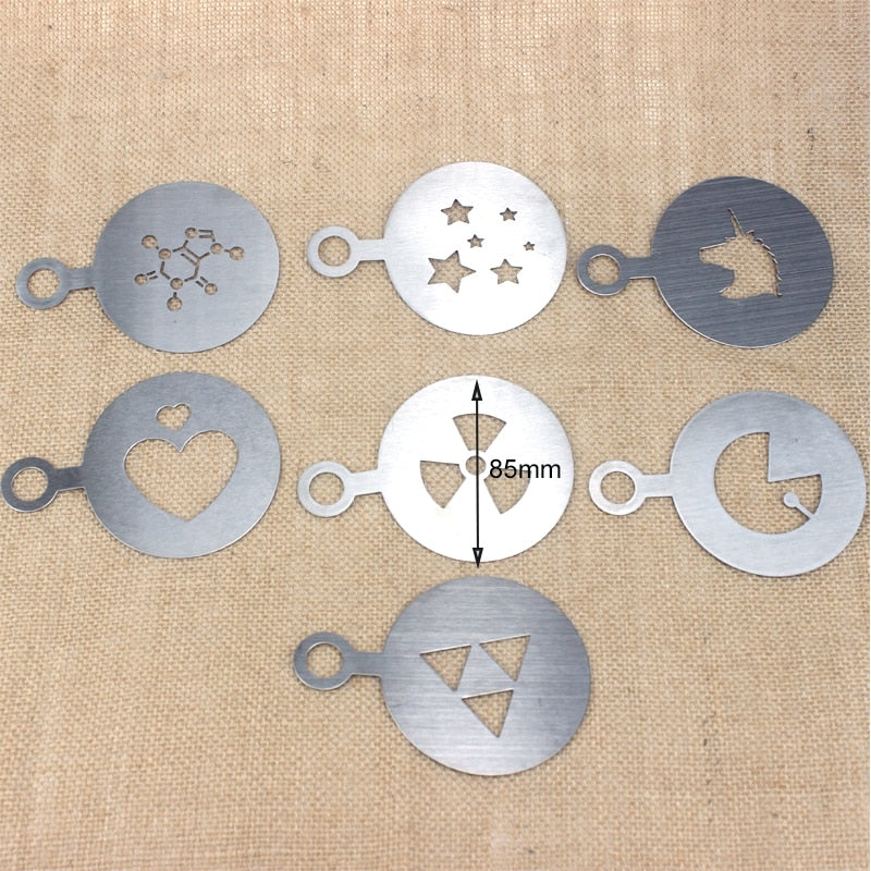 1pcs 85/100mm Stainless Steel Coffee stencils Latte Cappuccino Barista Art mould DIY Cake Duster