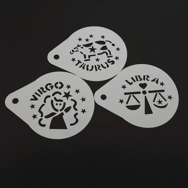 2.8 Inch 12pcs/set Cartoon Constellation Coffee Stencil Plastic Cappuccino Latte Art Template Mold