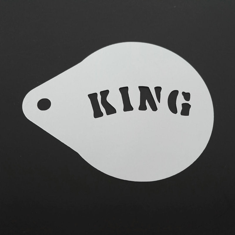 2.8 Inch King Queen Crown Coffee Stencil Latte Art Cappuccino Template Strew Pad Duster Spray Tools