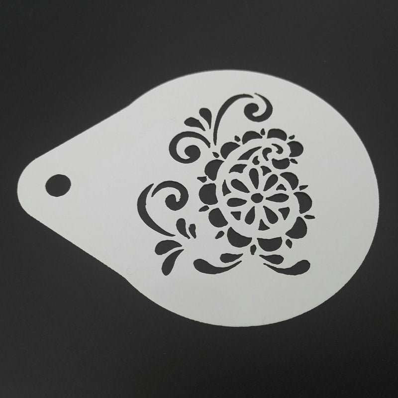 2.8 inch Flower Coffee Stencil Set Milk Cappuccino Latte Art Tools Plastic Cookie Mold Cafe