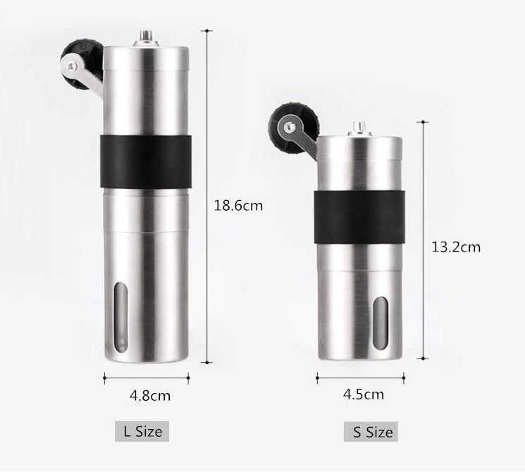 2 Size Manual Ceramic Coffee Grinder Stainless Steel Adjustable Coffee Bean Mill With Rubber Loop