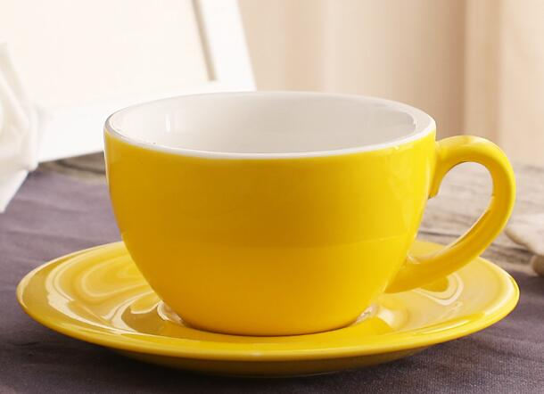 200 ml colorful thick body new bone china cappuccino cups and saucers ,ceramic coffee cup saucer