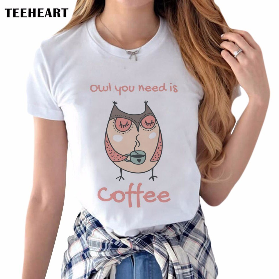 2017 Hot T Shirt Women New Arrivals Owl Coffee Printed Short Sleeve Casual Top Tees