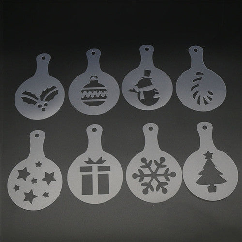 2018 Hot Creative 8/12/16pcs/set Valentine Xmas Cake Cappuccino Stencils Cookie Latte Coffee Mold