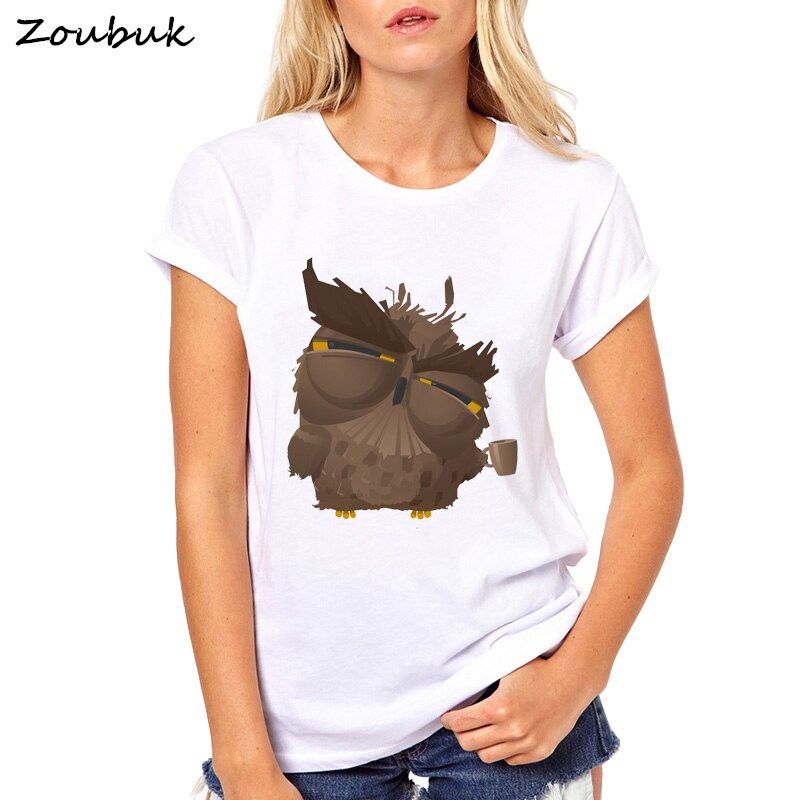 2018 New Fashion Summer Cute Coffee Owl Sloth Cat squirrel penguin design T shirt Women Lovely Cartoon tshirt novelty animal tee