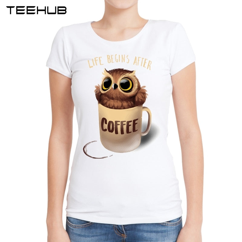 2019 New Fashion Women Summer Cute Owl In Coffee Cup Printed Short Sleeve T-shirt Lady Fantastic Design Tops Novelty Tees