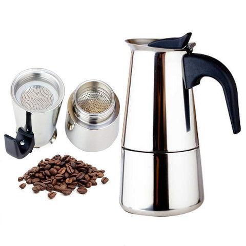 2019 fashion Design Large Capacity Stainless steel 304 Moka Pot Coffee Maker Stovetop Espresso Maker