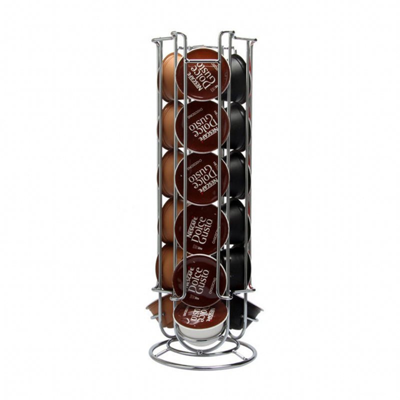 2019 Metal Coffee Pods Holder Tower Chrome Plating Stand Coffee Capsule Storage Rack for 18pcs