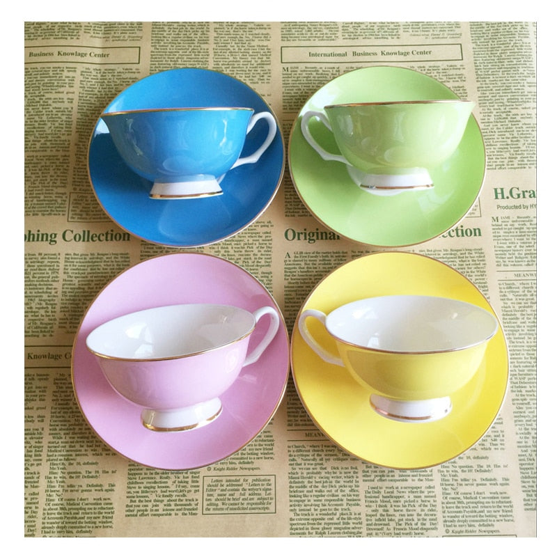 220ML, colorful bone china coffee cup and saucer set, nespresso cup set, tazas cafe termos coffee
