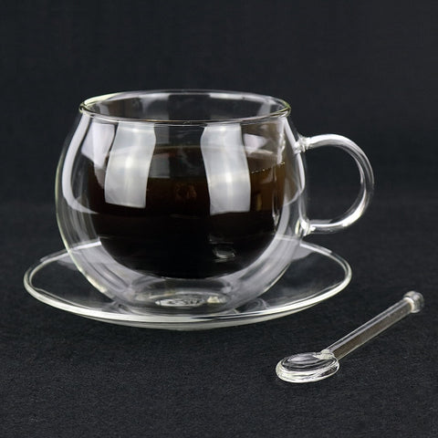 220ml double coffee cups Continental coffee cup set With spoon and saucers cups and gift