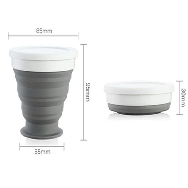 250ml NEW Portable Silicone Retractable Folding Cup with Lid Outdoor Drinking Cup Travel Camping