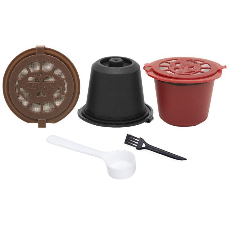 3 PCS Coffee Filter 20ml Reusable Refillable Coffee Capsule Filters For Nespresso With Spoon Brush
