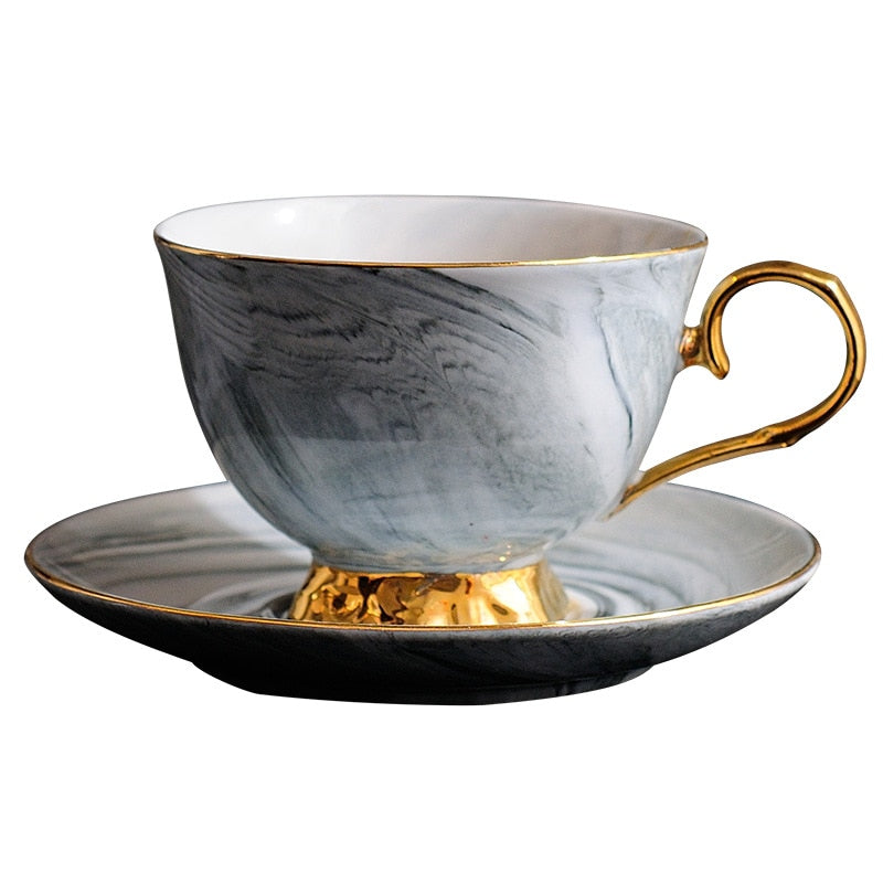 300ml Hand painted High-grade Coffee Cup Saucer Set European-style Marble Phnom Penh Ceramic