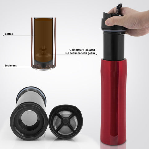 350ML French Press Stianless Steel Portable Coffee Press Maker Tarvel With Coffee Plunger Filter
