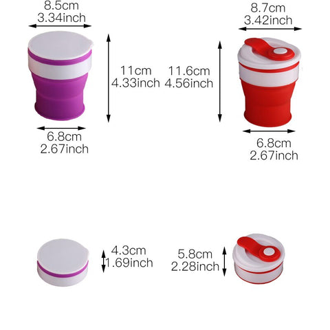 350ml Travel Silicone Mugs Retractable Folding Water Cup For Outdoor Telescopic Collapsible Cups