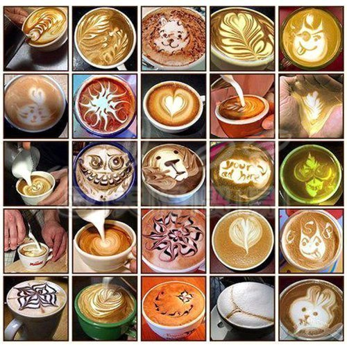 38 Coffee Decorating Stencils, Facemile Coffee Art Stencils Barista Template for All Kinds of Mousse