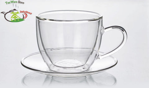 4 pcs/lot New Handmade Tea Cup Set - Heat Resistant Double Wall Tea Coffee Cup 160ml + Saucer