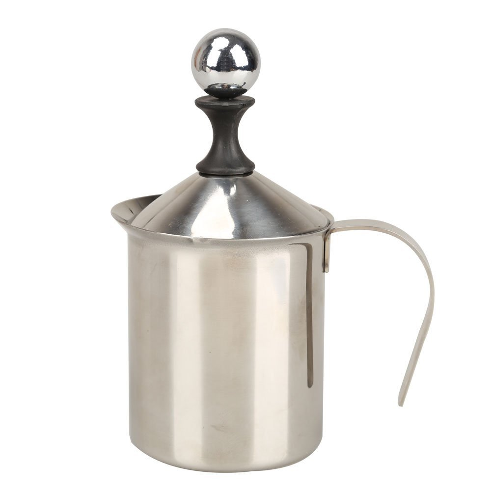 400ML Stainless Steel Double Mesh Milk Frother Milk Foamer Milk Creamer (400ml/13.5oz) Silver