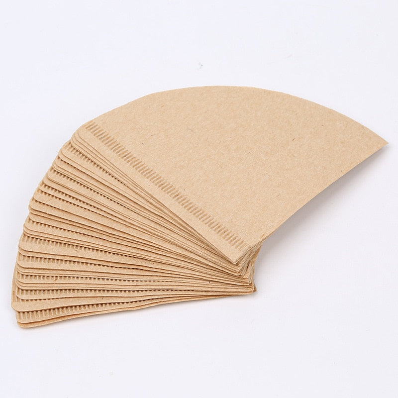 40PCS Coffee Filter Papers Unbleached Original Wooden Drip Paper Cone Shape Coffee Tools