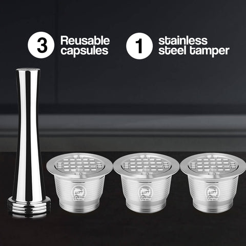 Nespresso Stainless Steel Refillable Coffee Capsule New Version Tamper Reusable Coffee
