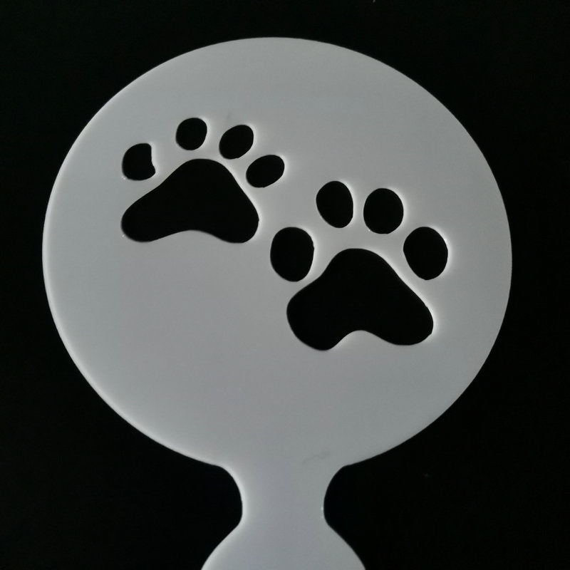 4pcs/set Cupcake Dog Paw Coffee Stencil Cookie Cappuccino Template Strew Pad Coffee Decoration Latte
