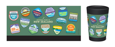 Cuppa Coffee Cup - National Parks by NZ Artist Glenn Jones - Large (12oz/350ml)