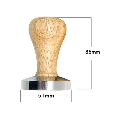 51MM Steel Base Chacate Preto Wood Handle Tamper Coffee Powder Hammer Customized Coffee Accessories