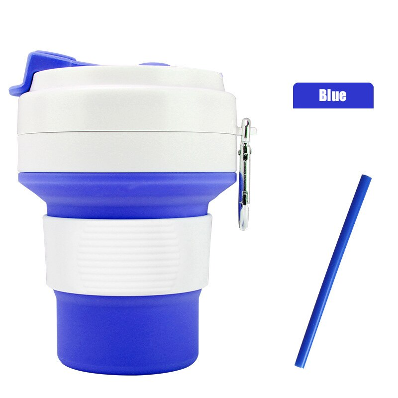 550ml Folding Silicone 6 color Portable Silicone Telescopic Drinking Collapsible coffee cup