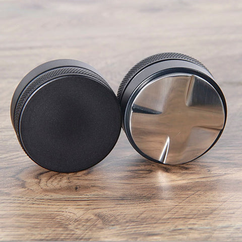 58.35mm Stainless Steel Coffee Tamper ,Convex Base Adjustable Four Leaves Powder Hammer Cloth Powder