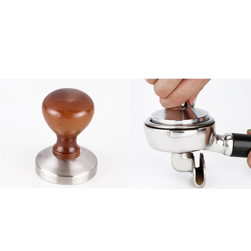 58mm Coffee Tamper Chacate Preto Wooden Tamper Coffee Powder Hammer with 304 Stainless Steel Base