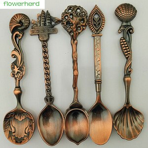 5pcs Vintage Royal Style Bronze Carved Small Coffee Spoon Tea Ice Cream Sugar Cake Flatware Sliver