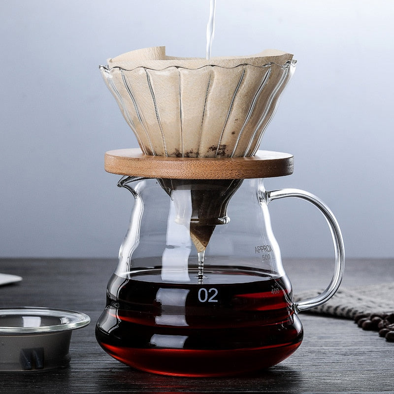 600ML/350ML Wooden brackets  Glass Coffee Dripper and Pot Set  for Hario style V60 Glass Coffee