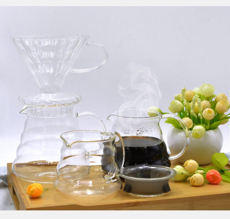 600ML Glass Coffee Dripper and Pot Set  for Hario style V60 Glass Coffee Filter   Reusable Coffee