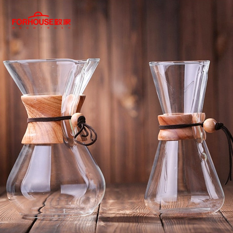 600ml/800ml Heat Resistant Glass Coffee Pot Coffee Brewer Cups Counted Coffee Maker Barista