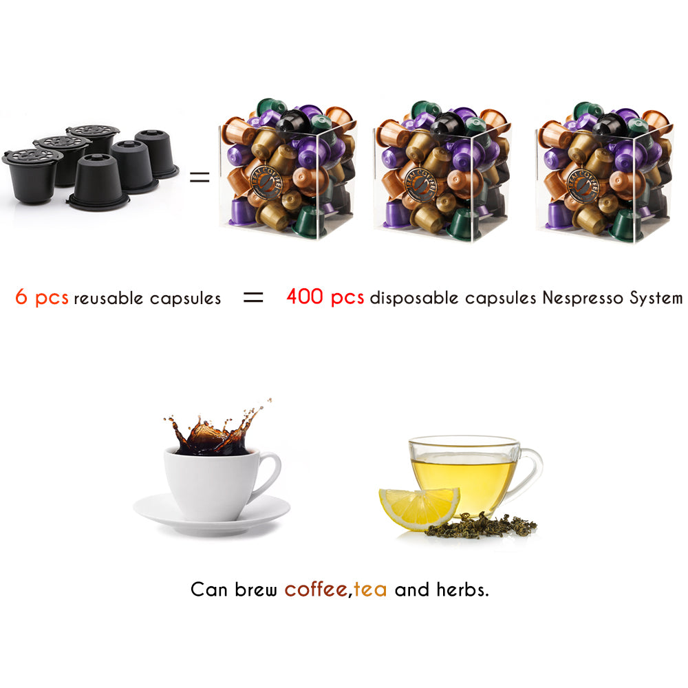 6pcs/lot Coffee Filter Espresso Reusable Refillable Coffee Capsule Filters For Nespresso With Spoon Brush Kitchen Accessories