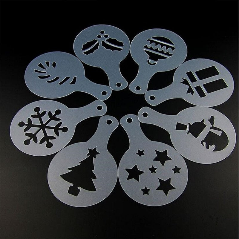 8PCS Christmas Coffee Stencils Cappuccino Tramisu Template Model Cookies Baking Printing Tools Strew
