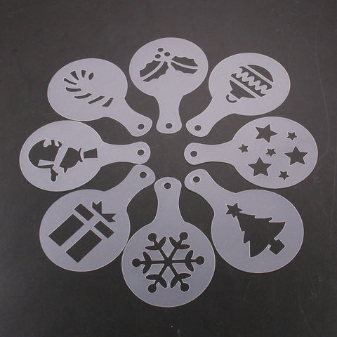 8pcs/set Christmas Valentine's Day Coffee Stencil Cookie Cappuccino Latte Barista Art Mold Cafe
