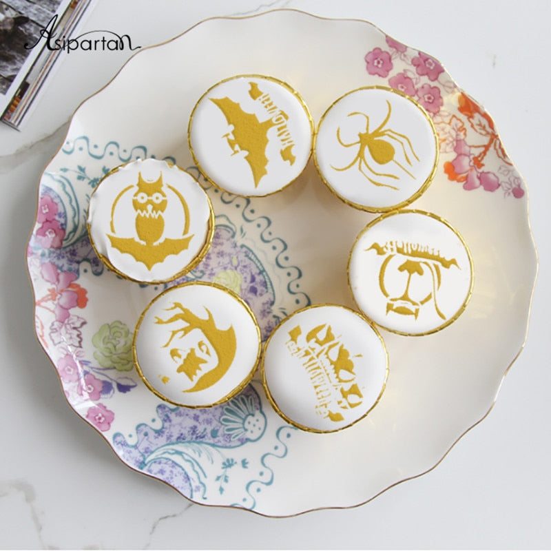 Asipartan 6pcs Owl Bat Tree Halloween Coffee Pull Flower Mold Cake Decorating Tool Cookie Stencil