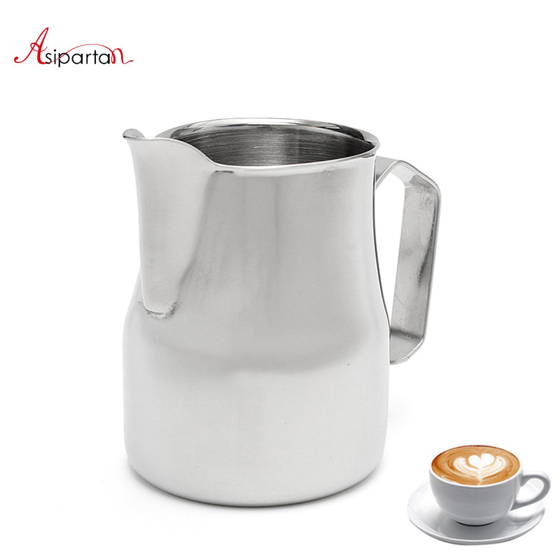 Asipartan Stainless Steel Milk Frothing Jug Espresso Coffee Pitcher Cup 350/500/750ml Cappuccino