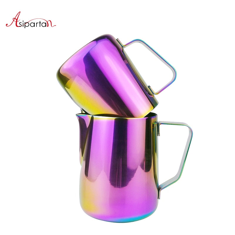 Asipartan Stainless Steel Milk Frothing Jug Espresso Coffee Pitcher Cup Colorful Cappuccino Art Pull