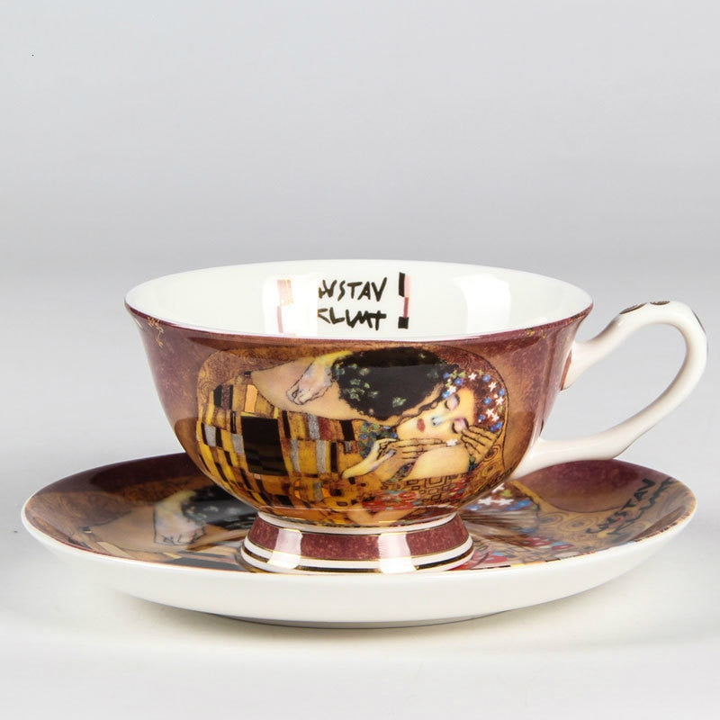 Austria Paintings Kiss Painting Coffee Cups&Saucers Creative Quality Bone China Tea Cup Set